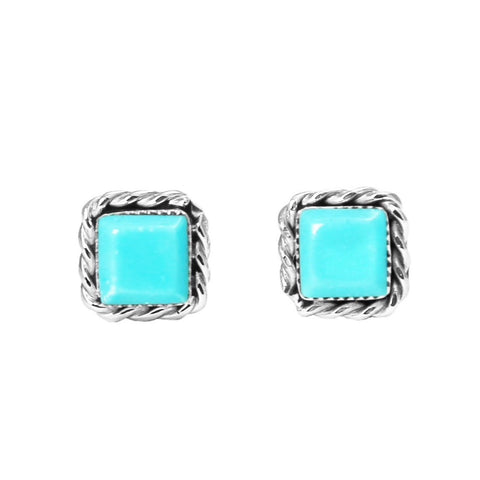 Square Turquoise Zuni Post Earrings
