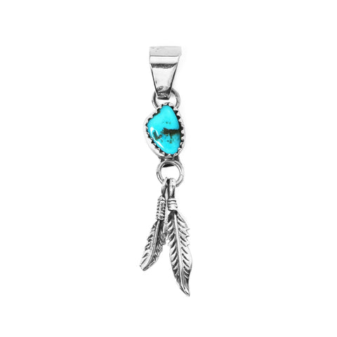 Turquoise & Feather Pendant