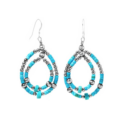 Turquoise Heshi and Navajo Pearl Double Earrings