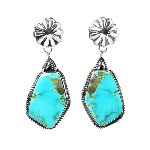 Kingman Turquoise Concho Post Dangle Earrings