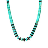 Long Turquoise & Jet Heishi Necklace
