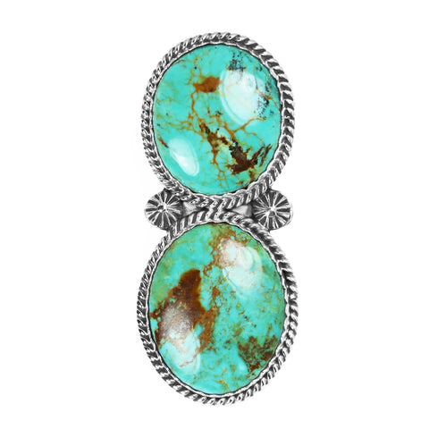 Large Two Stone Kingman Turquoise Ring