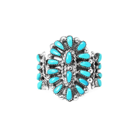 Turquoise Zuni Point Bracelet Design Statement Ring