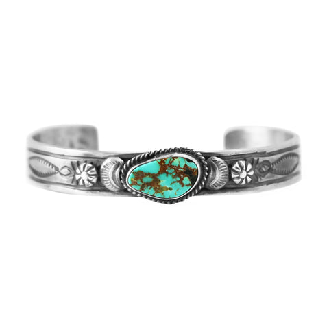 Silver Royston Turquoise Cuff Bracelet by Gilbert Tom