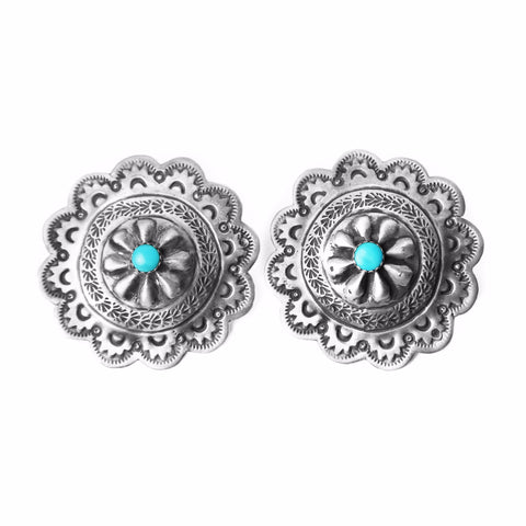 Round Silver Stamped Concho Post Earrings