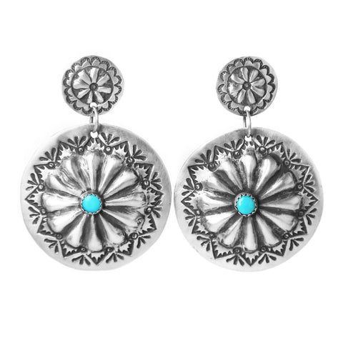 Round Silver and Turquoise Concho Earrings