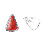 Triangle Red Spiny Oyster Post Earrings