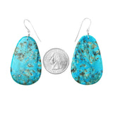 Blue Kingman Turquoise Slab Earrings - Style 5