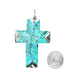 Turquoise Mosaic Inlay Cross Pendant