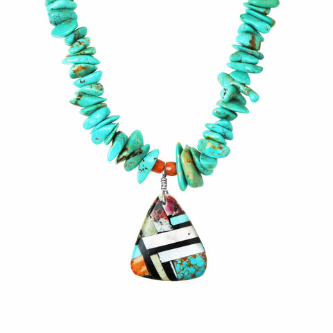 Multi Stone Inlay Turquoise Necklace