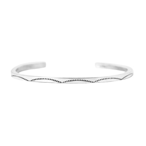 Thin Square Silver Gauge Stamped Cuff Bracelet