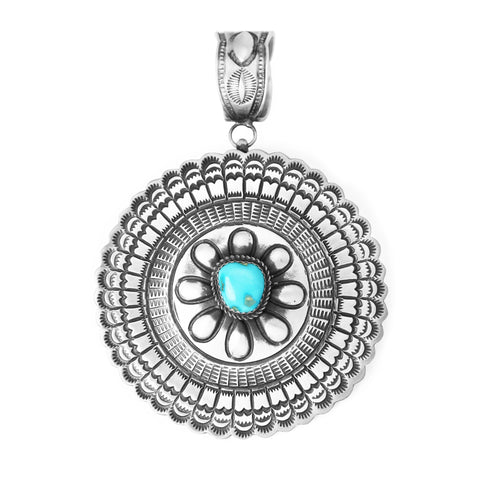 Large Round Stamped Silver Turquoise Pendant