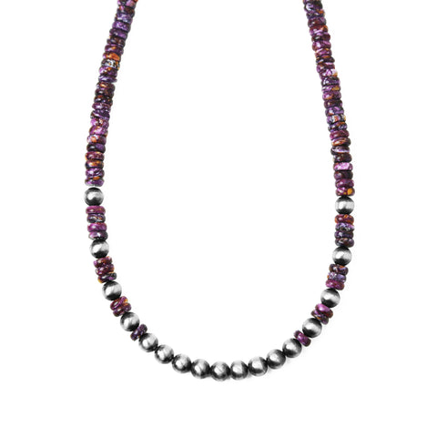 Purple Spiny Oyster & Navajo Pearl Necklace