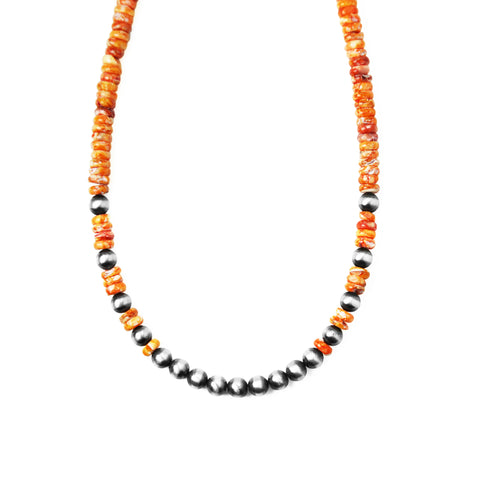 Orange Spiny Oyster & Navajo Pearl Necklace
