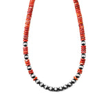Red Spiny Oyster & Navajo Pearl Necklace
