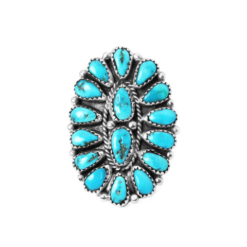 Sleeping Beauty Turquoise Navajo Cluster Ring