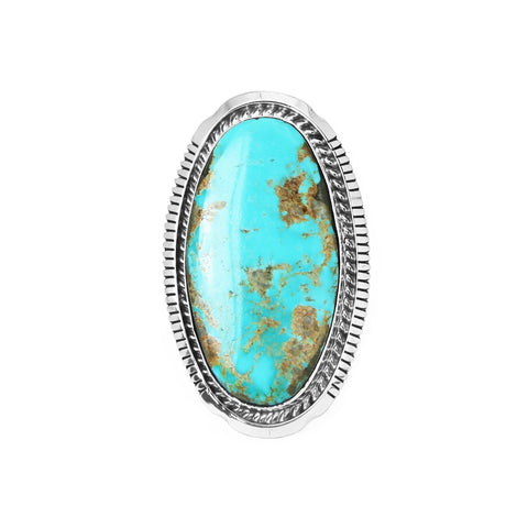 Oval Kingman Turquoise Statement Navajo Ring