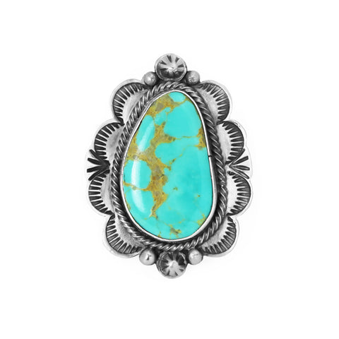 Royston Turquoise Stamped Band Ring - Style 2