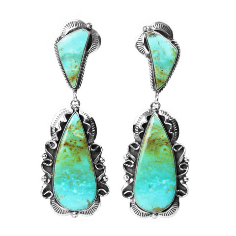Kingman Turquoise Decorative Border Earrings