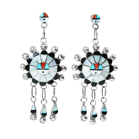 Zuni Inlay Statement Chandelier Earrings