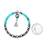 Turquoise & Navajo Pearl Hoop Earrings