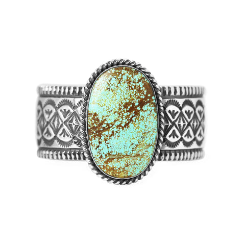 Oval Number 8 Turquoise Stamped Cuff Bracelet