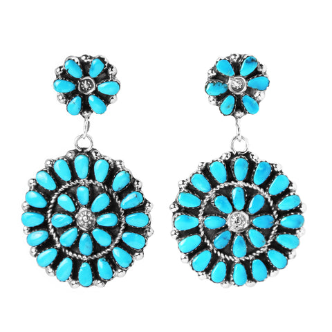 Zuni Round Turquoise Cluster Dangle Earrings