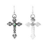 Turquoise Silver Cast Cross Dangle Earrings