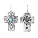 Wide Silver & Turquoise Stamped Cross Earrings
