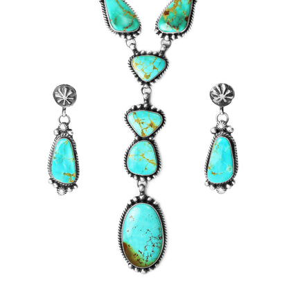 Navajo Kingman Turquoise Lariat Necklace & Earring Set
