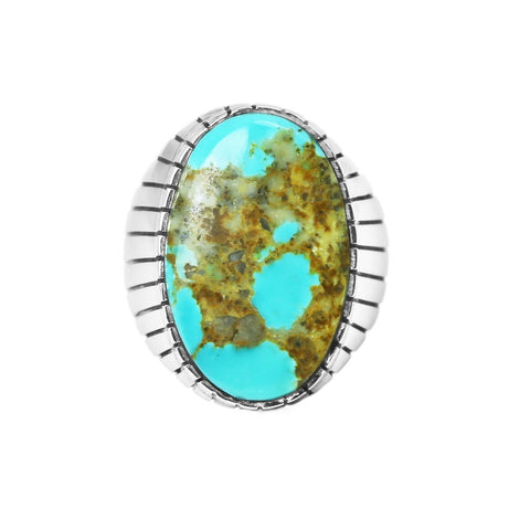 Men's Large Oval Kingman Turquoise Ring