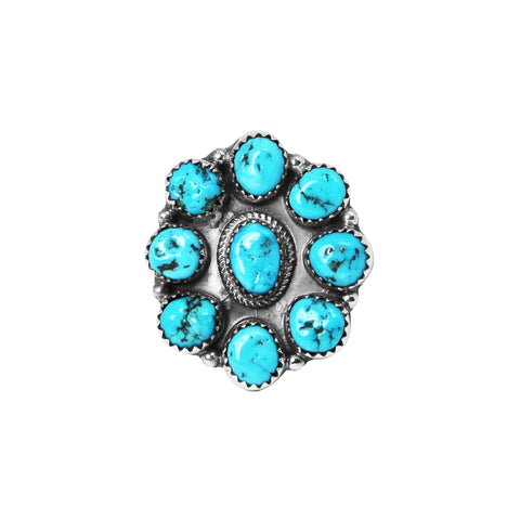 Kingman Turquoise Medium Navajo Cluster Ring