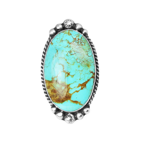 Oval Kingman Turquoise Satin Finish Statement Ring
