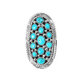 Oval Elongated Freeform Turquoise Cluster Ring