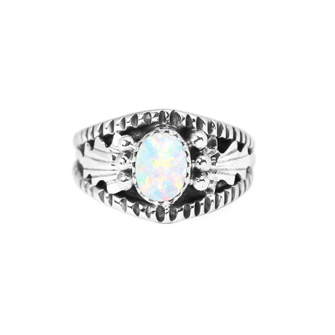 Opal & Silver Overlay Ring