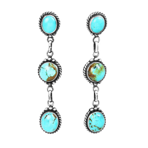 Turquoise Three Stone Link Dangle Post Earrings