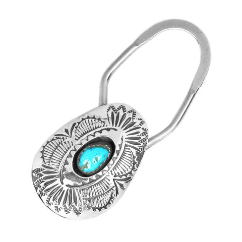 Stamped Silver & Turquoise Key Ring