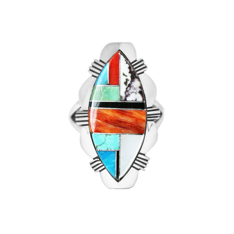 Oval Multi Stone Inlay Navajo Ring