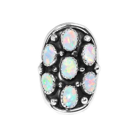 Opal Navajo Cluster Statment Ring