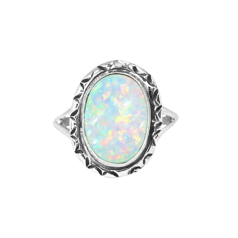 Oval Opal Stamped Border Ring