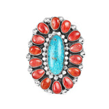 Turquoise & Red Spiny Oyster Cluster Ring