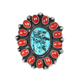 Sleeping Beautiful Turquoise & Coral Statement Ring