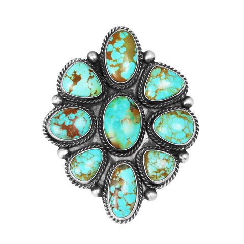 Green Kingman Turquoise Cluster Ring