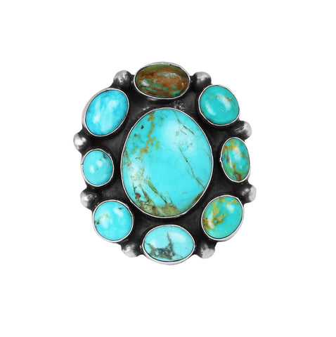 Mixed Turquoise Cluster Ring - Style 1