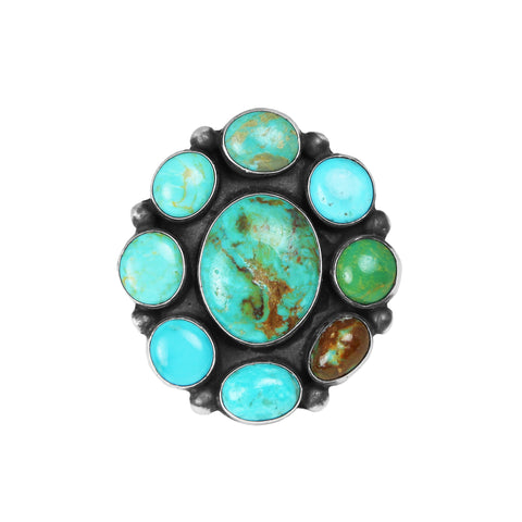 Mixed Turquoise Cluster Ring - Style 2