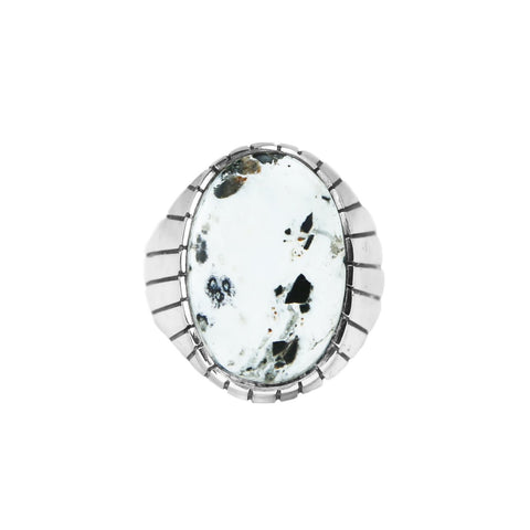 Men's Oval White Buffalo Statement Ring