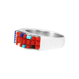 Coral & Lapis Zuni Corn Maiden Ring