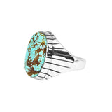 Men's Oval Number 8 Turquoise Ring