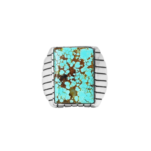 Men's Rectangle Number 8 Turquoise Ring