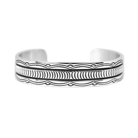 Bruce Morgan Stamped Silver Cuff Bracelet - Style 1